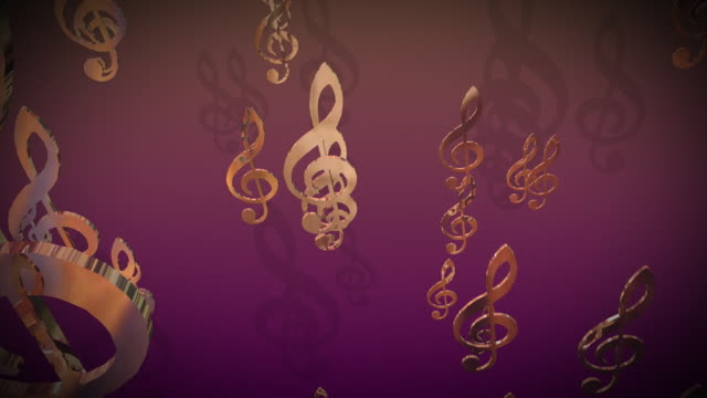 cgi, music clefs moving against colored background - musical symbol stock videos & royalty-free footage
