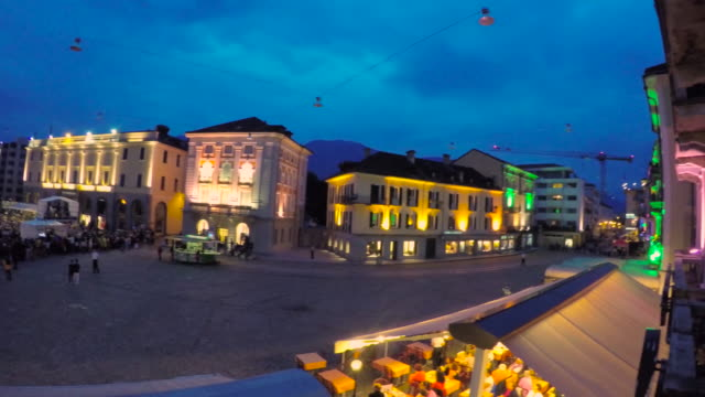 Music Concert in blue hour in piazza Grande in old town in Locarno Switzerland NO