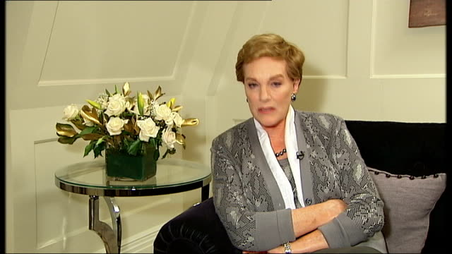 dame julie andrews interview; dame julie andrews interview continues sot - more on sponsoring scientists who are working on vocal restoration / her... - julie andrews stock videos & royalty-free footage