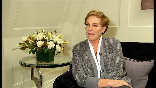 dame julie andrews interview; england: london: int dame julie andrews interview sot - on being nervous about the concert in london / don't think... - sleeve stock videos & royalty-free footage