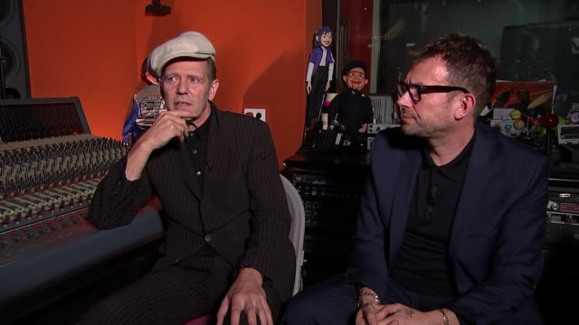 damon albarn supergroup the good the bad and the queen release new album 'merrie land' england london int reporter asking question sot paul simonon... - ventriloquist stock videos and b-roll footage