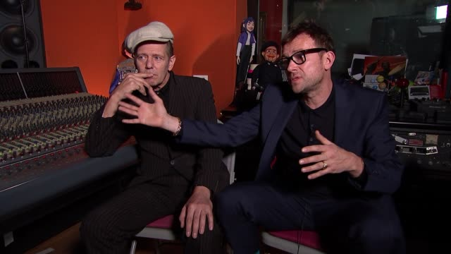 damon albarn supergroup the good the bad and the queen release new album 'merrie land' damon albarn and paul simonon interview england london int... - album release stock videos and b-roll footage