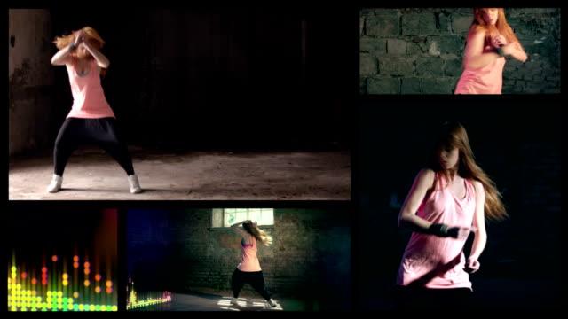 musik-girl. split screen - swing tanz stock-videos und b-roll-filmmaterial