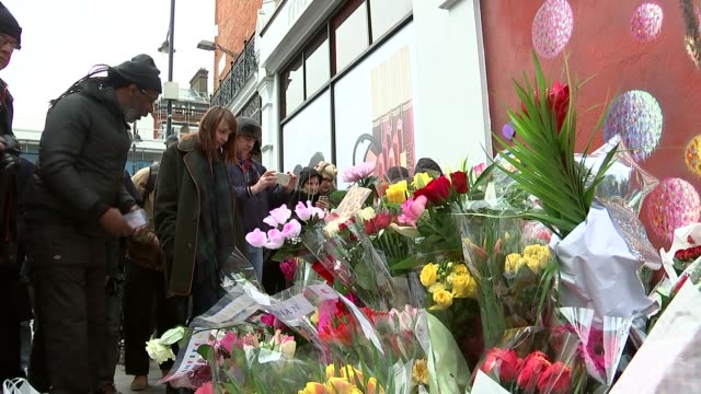 david bowie death images from final photoshoot released day mural of david bowie and floral tributes at makeshift memorial rachel pronger interview... - 仮設追悼施設点の映像素材/bロール