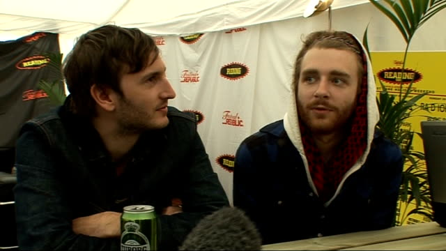 day 2 of reading festival 2009 interviews bear hands interview sot on dropping out of college british bands being more open to new music on producing... - reading and leeds festivals stock videos & royalty-free footage