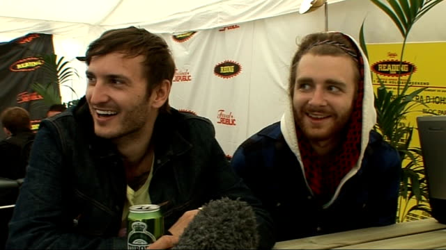 day 2 of reading festival 2009 interviews bear hands interview sot on them being together three years on playing festival republic on punk influences... - reading and leeds festivals stock videos & royalty-free footage