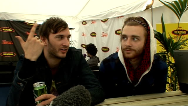 vídeos y material grabado en eventos de stock de day 2 of reading festival 2009: interviews; bear hands interview sot - on dress at the festival - reading and leeds festivals