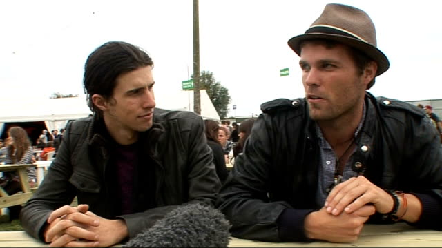 day 2 of reading festival 2009 interviews ext nathaniel motte and sean foreman interview sot the group's name on reading the performance and their... - reading and leeds festivals stock videos & royalty-free footage