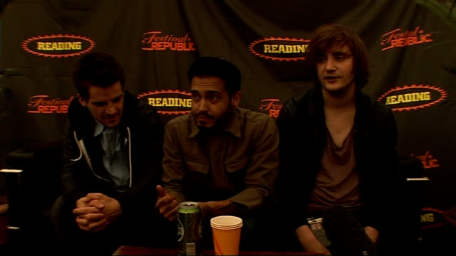 day 2 of reading festival 2009 interviews kids in glass houses interview sot comment on oasis splitting up michael jackson death on their forthcoming... - reading and leeds festivals stock videos & royalty-free footage