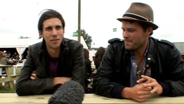 day 2 of reading festival 2009 interviews nathaniel motte and sean foreman interview sot on vma nomination and campaign on upcoming album - reading and leeds festivals stock videos & royalty-free footage