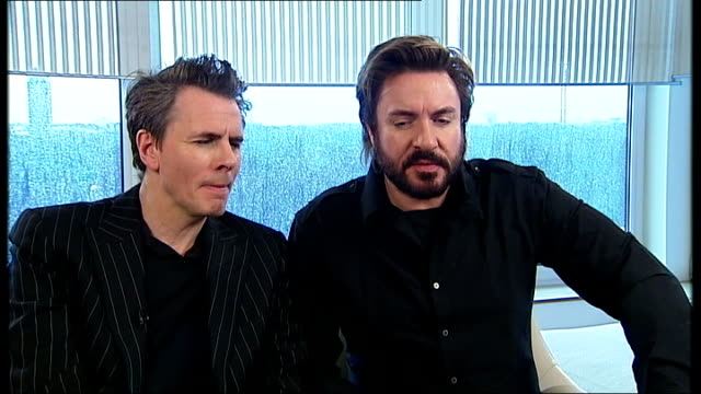 stockvideo's en b-roll-footage met duran duran interview england london int simon le bon and john taylor 'duran duran' interview sot on their new single it's not old or vintage return... - duran duran