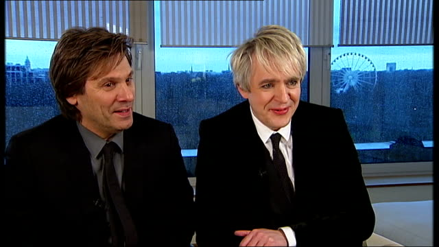 stockvideo's en b-roll-footage met duran duran interview roger taylor and nick rhodes interview sot lucky to still be here / great working with mark / 30 years later we still have... - duran duran