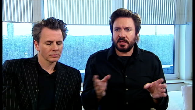 stockvideo's en b-roll-footage met duran duran interview simon le bon and john taylor interview continued sot lot of people can't stand talent show type of music / they want to hear... - duran duran