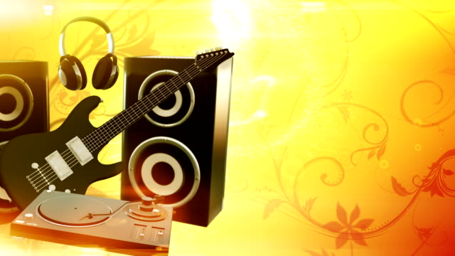 music equipment with copy space (yellow) - loop - adobe after effects stock videos and b-roll footage
