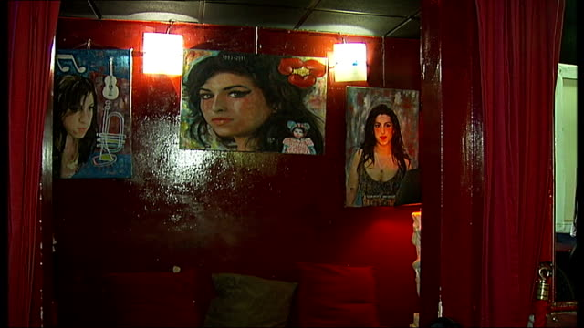 father of amy winehouse writes book about his daughter; soho: int mitch winehouse interview sot various of paintings of amy winehouse on walls of... - amy winehouse stock-videos und b-roll-filmmaterial