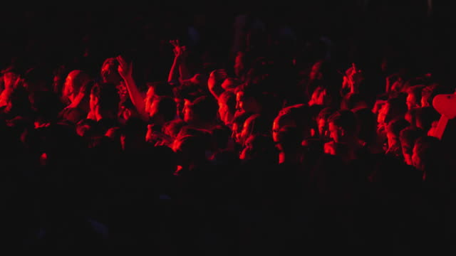 music festival crowd, dancing & cheering people at concert - silhouette stock videos & royalty-free footage