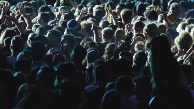 vídeos de stock e filmes b-roll de music festival crowd, dancing & cheering people at concert - dance music