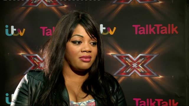 vidéos et rushes de first x factor 2013 contestant voted off: lorna simpson interview; england: london: int lorna simpson interview sot - concurrent