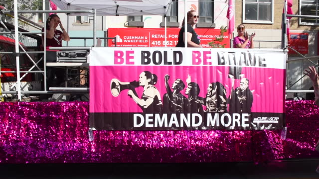Be Bold Be Brave Demand More' The Toronto Labor Day Parade is a traditional annual event in the Canadian city capital of the province of Ontario