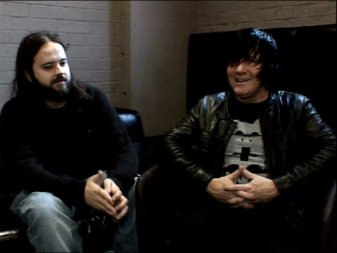 funeral for a friend interview; england: london: kentish town: the forum: int kris coombs-roberts and darran smith interview sot - on this year's... - kentish town bildbanksvideor och videomaterial från bakom kulisserna