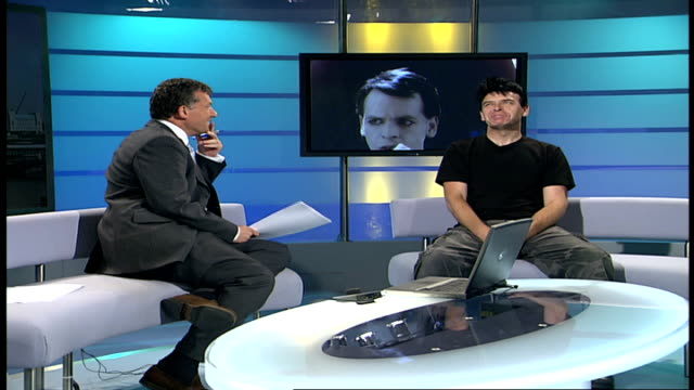 gary numan england london gir int gary numan live studio interview sot on 'cars' on the glory days end - gary numan stock videos & royalty-free footage