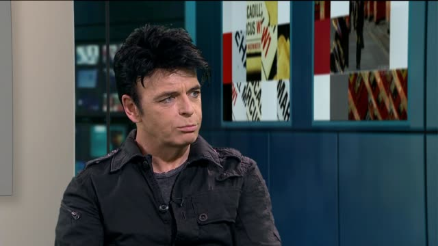 gary numan to stage london concerts numan interview continues sot talks of people saying his sound is still current / constantly trying to reinvent... - gary numan stock videos & royalty-free footage