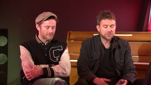Gorillaz interview Music Gorillaz interview Damon Albarn and Jamie Hewlett interview SOT re working with Noel Gallagher CUTAWAYS reporter