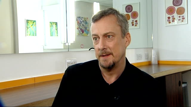stockvideo's en b-roll-footage met grimethorpe colliery band funding crisis: stephen tompkinson interview; england: london: int stephen tompkinson interview sot - on how hard the band... - stephen tompkinson