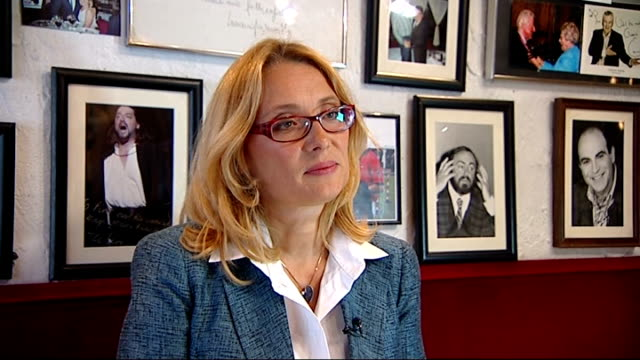 interview with luciano pavarotti's widow england london int nicoletta mantovani pavarotti interview sot - widow stock videos and b-roll footage