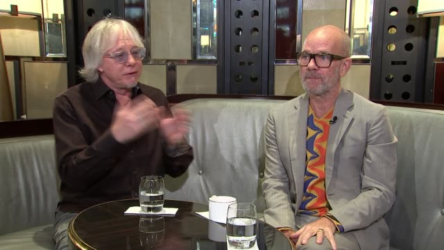 interview with michael stipe and mike mills of rem england london int mike mills and michael stipe interview sot - michael stipe stock videos & royalty-free footage