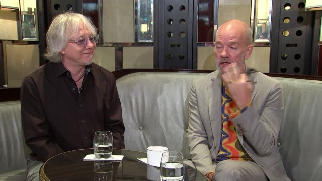 interview with michael stipe and mike mills of rem england london int michael stipe interview alongside mike mills sot - michael stipe stock videos & royalty-free footage