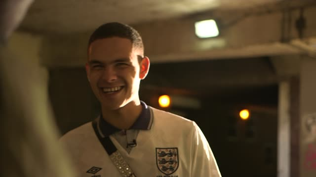 Interview with rapper Slowthai ENGLAND Northamptonshire Northampton SOT*** Slowthai set up shots with reporter / interview SOT Wide shot 'The...