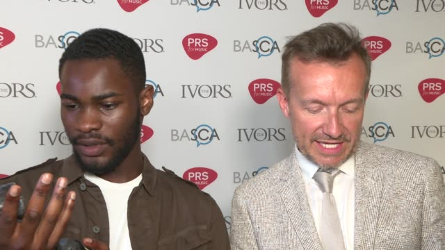 Ivor Novello awards Red carpet arrivals and winners' room ENGLAND London PHOTOGRAPHY*** Winners' Room Dave and Fraser T Smith interview SOT