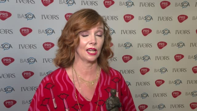 Ivor Novello awards Red carpet arrivals and winners' room ENGLAND London PHOTOGRAPHY*** Winners' Room Cathy Dennis interview SOT