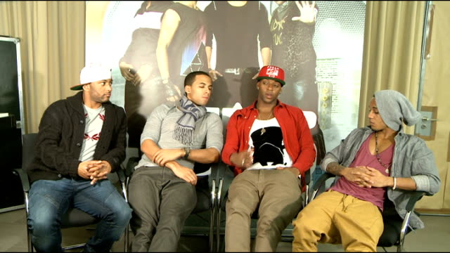 interview; jls interview sot - on whether they hope to crack the united states / overseas fans / always asked if they'd go solo - want to do at least... - boy band stock videos & royalty-free footage