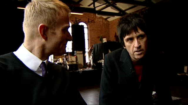 johnny marr to release solo album interview and rehearsal johnny marr interview with reporter in shot sot - album release stock videos and b-roll footage