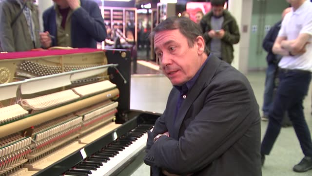 jools holland records a record at st pancras station jools holland interview sot - jools holland stock videos & royalty-free footage