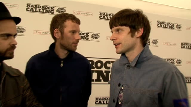 kaiser chiefs interview england london int members of kaiser chiefs nick 'peanut' baines simon rix nick hodgson interview sot on being back on stage... - customised stock videos & royalty-free footage
