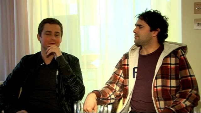 keane interview; tom chaplin and tim rice-oxley interview continues sot - on not wanting to be stuck with a particular style of music / changing... - tim rice stock videos & royalty-free footage