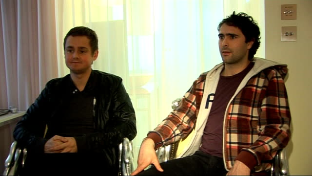 keane interview; tom chaplin and tim rice-oxley interview continues sot - on not having a stylist / who they would like to see win the brit award for... - tim rice stock videos & royalty-free footage