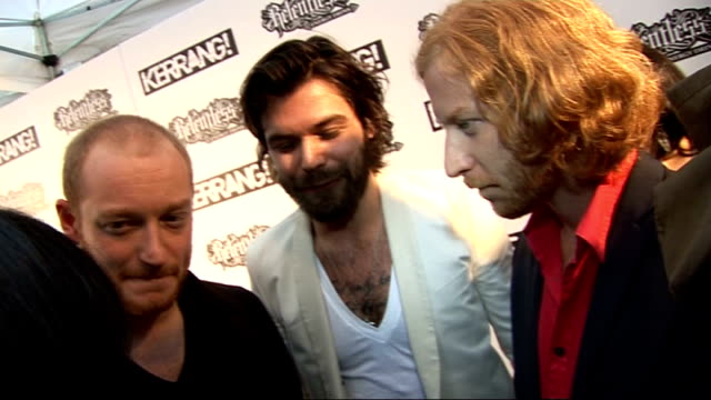 kerrang awards 2010: interviews pre and post-ceremony; general views biffy clyro speaking to press and interview sot - on their nominations / a good... - mercury music prize stock-videos und b-roll-filmmaterial