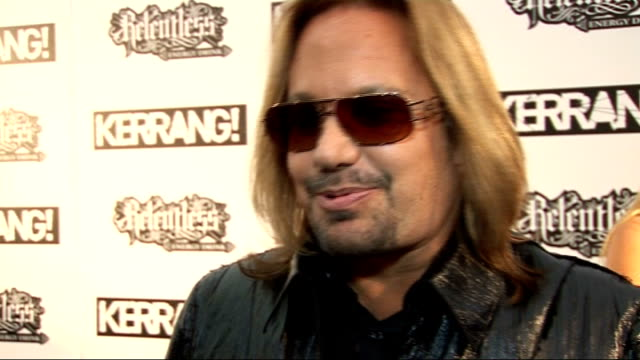 kerrang awards 2010: interviews pre and post-ceremony; general view vince neil speaking to press and interview sot - on getting into kerrang hall of... - 飼い慣らされた点の映像素材/bロール
