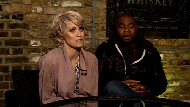 kimberly wyatt interview; england: london: the sanctum: int kimberly wyatt and spencer nezey interview sot - on band name- explain the name 'her... - only girls stock videos & royalty-free footage