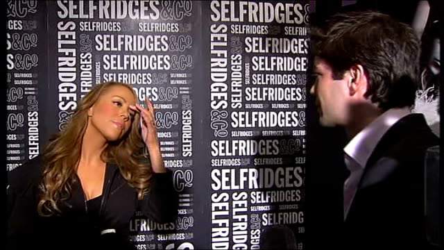 mariah carey interview england london selfridges department store int mariah carey interview sot good to be in london loves visiting here and tries... - e=mc2 stock-videos und b-roll-filmmaterial