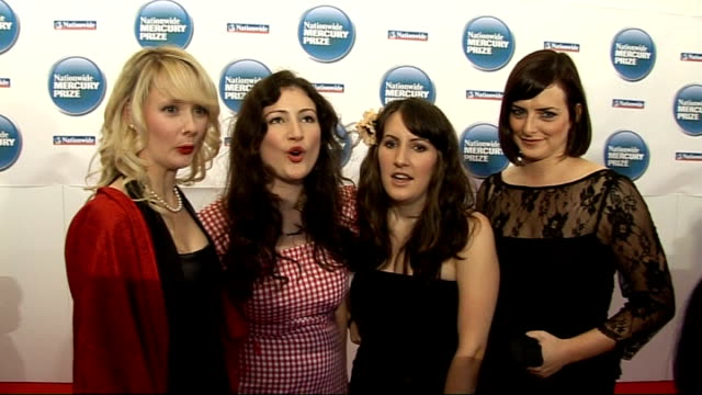 mercury music awards / future of album format uncertain; england: london: grosvenor house: int rachel unthank with her band the winterset posing for... - mercury music prize stock-videos und b-roll-filmmaterial