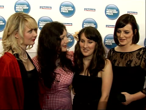 stockvideo's en b-roll-footage met mercury music awards members of folk artists 'rachel unthank and the winterset' rachel unthank becky unthank stef conner and niopha keegan speaking... - popmuziek tournee