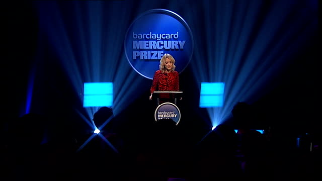 mercury music prize 2011 nominations: announcement and performances; various of nominee videos being played on large screen to audience sot lauren... - mercury music prize stock-videos und b-roll-filmmaterial