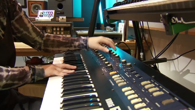 mercury music prize 2020 georgia interview england int georgia interview sot / georgia playing keyboard synthesizer in recording studio - synthesizer stock videos & royalty-free footage
