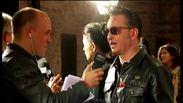 mercury music prize england london the roundhouse int various shots of richard hawley speaking to press on red carpet various of joe newman and gwil... - richard sainsbury stock videos & royalty-free footage