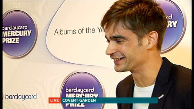 mercury music prize nominees announced; jon hopkins live interview sot reporter live to camera - mercury music prize stock-videos und b-roll-filmmaterial